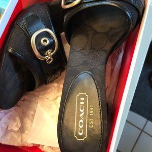 Black coach sandals